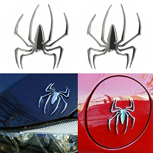 E-cowlboy 3 D Spider Chrome Emblems Badges Sticker Silvery for Can Am Spyder Rt St Rs - Set of 2pcs Rs Spyder Cap