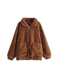 KOERIM Women's Fluffy Shaggy Long Sleeve Faux Fur Coat Jacket Pockets Warm Winter