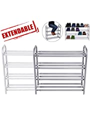 "GEMITTO 4-Tier Shoe Rack Organizer, Expandable Durable Shoe Home Storage Shelf Rack, Heavy Duty, Holds 20 Pairs Shoe, for Closet Bedroom Entryway (23.6""~41.7""x8.9""x24.2"") Silver Gray"