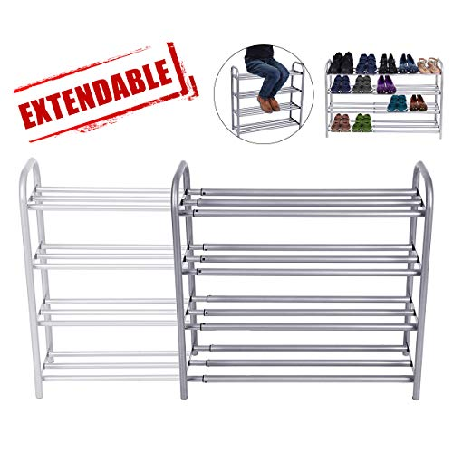 - GEMITTO 4-Tier Shoe Rack Organizer, Expandable Durable Shoe Home Storage Shelf Rack, Heavy Duty, Holds 20 Pairs Shoe, for Closet Bedroom Entryway (23.6