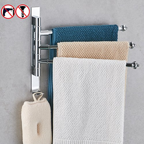 BESy Stainless Steel Swing Out Towel Bar 3-Bar Folding Arm Swivel Hanger Bathroom Storage Organizer Rustproof Drill Free,Chrome,Wall Mount instantly on all smooth or textured surfaces (Stainless Steel Heated Towel)