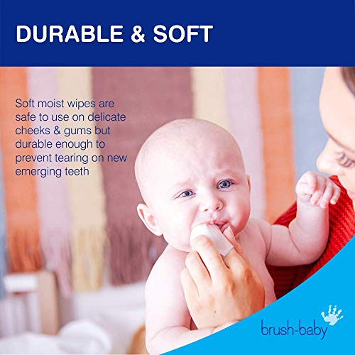 51wqWfeAb7L - Brush Baby Teething Relief Dental Wipes For Ages 0-Toddler - Naturally Eliminate Teething Pain, Prevent Tooth Decay And Sour Milk Breath - 28 Finger Wipes (2-Pack)