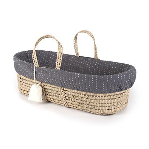 Tadpoles Line Stitched Moses Basket and Bedding Set, Grey (Baby Bassinet Basket)