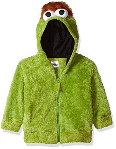 Sesame Street Toddler Boys' Fuzzy Costume Hoodie (Multiple Characters), Oscar The Grouch Green, 4T ()