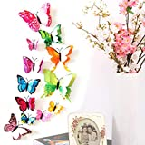 Yirind 12PCS Butterfly Wall Decor for Wall-3D Butterflies Wall Stickers Removable Mural Decals Home Decoration Kids Room Bedroom Decor (9Colors)