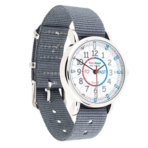 EasyRead Time Teacher Children?s Watch, ?Minutes Past & to?, Red, Blue, Grey Face/Grey Strap