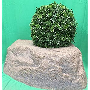 "Artificial UV Rated Outdoor 22"" Ball Boxwood Topiary Bush Bundled with Rock Planter Cover, by Silk Tree Warehouse 82"