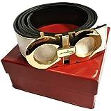 Salvatore Ferragamo Adjustable Reversible Belt White Black with Gold Buckle