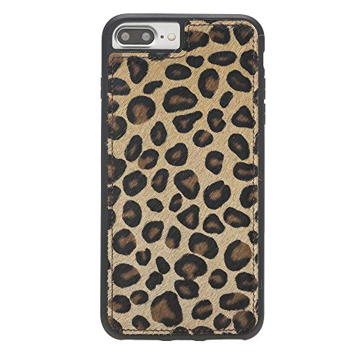 Venito Lucca iPhone 8 Plus/iPhone 7 Plus Leather Case, Snap-On Back Cover for iPhone 7Plus/8Plus | Slim and Lightweight | Handcrafted Premium Full Grain Leather (Furry Leopard)