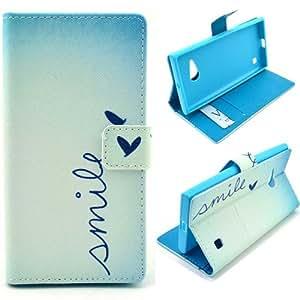Semoss Azul Mariposa Funda de Cuero Carcasa Case Para Nokia Lumia 735 PU Folio Flip Billetera Wallet Piel Cover con Funcion Soporte/Titular Tarjeta