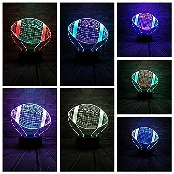 Nndxh Deportes Populares Balón De Fútbol Americano Luz 3D Color ...