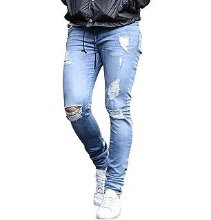 e9d316a8d4da7 WanYangg Jean Skinny Fit Homme, Hommes Stretch Jeans avec Déchiré Genou  Déchiré Casual Distressed Slim