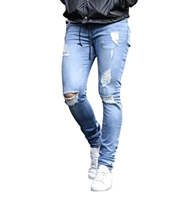 WanYangg Jeans Pantaloni Skinny Strappati Uomo 5157d4b24d1