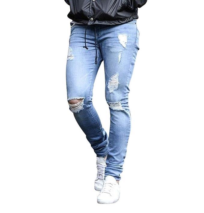 WanYangg Jeans Pantalón Skinny Vaqueros Rasgados para Hombre ...