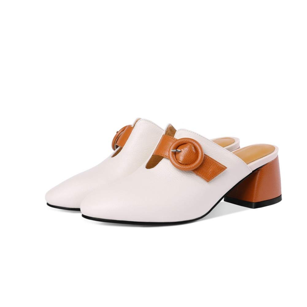 PINGXIANNV PINGXIANNV PINGXIANNV Schuhe Frauen Sommer Mode Mischfarben Leder Frauen Hausschuhe Außerhalb Hohe Ferse Schnalle Schuhe B07P545BXW Tanzschuhe Schöne Farbe d938ea