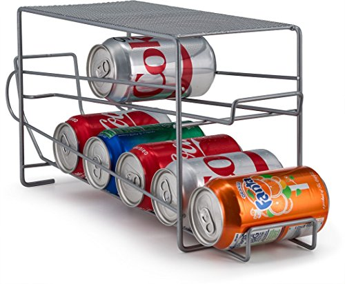 Home Basics CD49785  Stackable Can Rack Organizer Food Storage Canned Food Soda Can Dispenser for Cabinet or Refrigerator (Silver/Mesh)