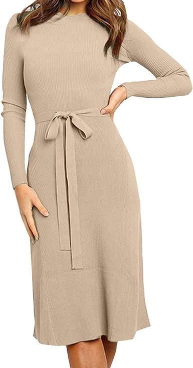 Vestido Largo de Manga Larga Vintage con O-Cuello Color Sólido y ...