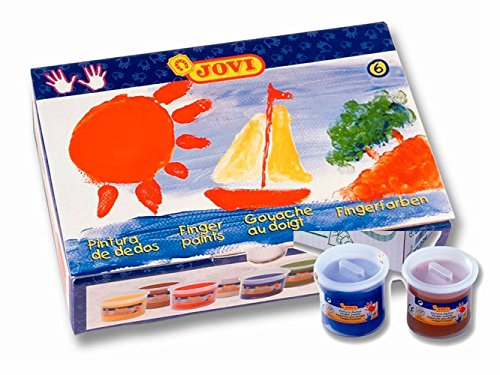 Jovi Finger Paint; Boxed Set of 6 Jars, 125ml (4.2 oz), Core Colors, Washable Finger Paints