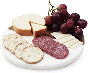 """Slice of Goodness Small Round Cheese Board - 10"""" x 10"""" Real Bamboo Wood and Marble Charcuterie Board Party Plate Tray with Leather Handle"""