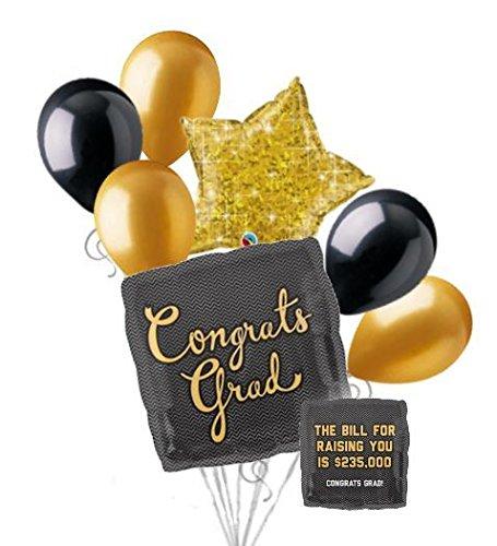 7pc Graduation Bill Due Congratulations Grad Balloon Bouquet Congrats Gold Black