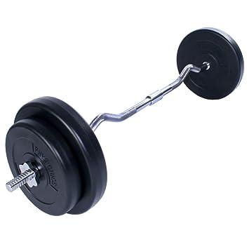 Physionics® - HSTA22 - Barra de pesas Curl 30 kg - 4 discos incluidos: Amazon.es: Deportes y aire libre