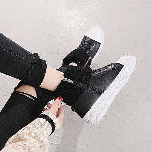 de 5 Mujer de Altura Corderos negro Botas Nieve de Gran EUR34 Zapatos Xx6qpIW