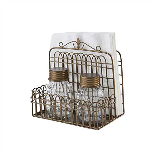 (Garden Gate Napkin Holder with Glass Jar Salt & Pepper Shakers)