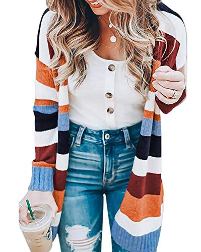 Cardigan & Floral Print Skirt - ORMAY Floral Print Striped Cardigan Sweaters Women Pockets Wear Skirts (L,Color1)