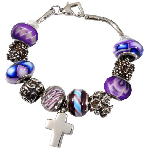 Memorial Gallery Forever Purple Remembrance Bead Pet Cross Urn Charm Bracelet, 7'' by Memorial Gallery