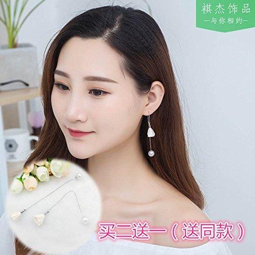 usongs Every day special super cents fabric flowers tassel ear wire earrings elegant simple pearl earrings long section ear