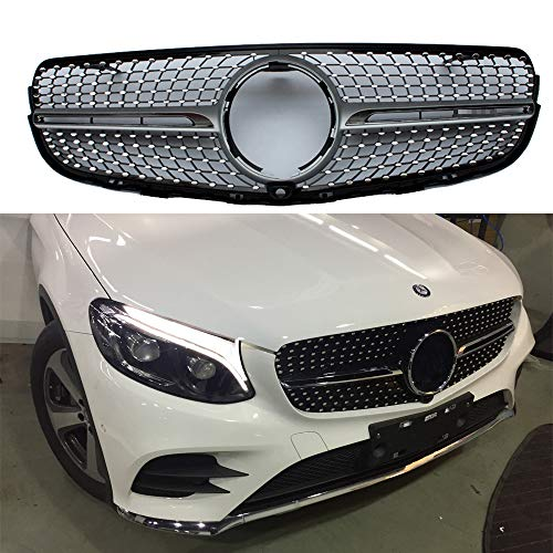 Diamond radiator style front grille for Mercedes Benz GLC class W253 X253 2016+ ABS grille with camera
