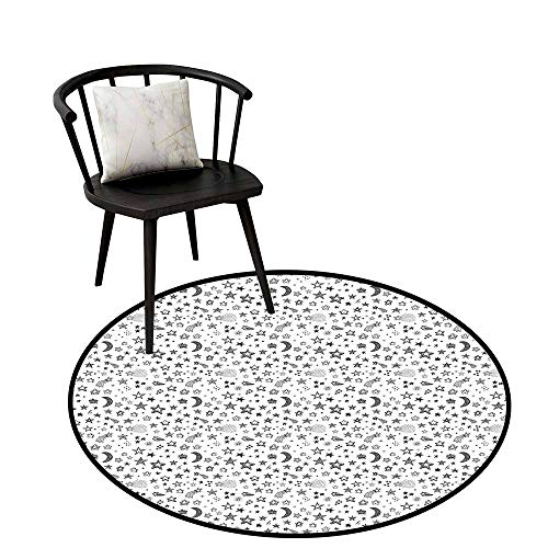Flag Anti-Slip Round Doormats Doodle,Stars and Crescent Moon Heavenly Bodies Abstract Sketch Style Space Cosmos Image,Black White,Dining Room Bedroom Carpet Floor Mat 20