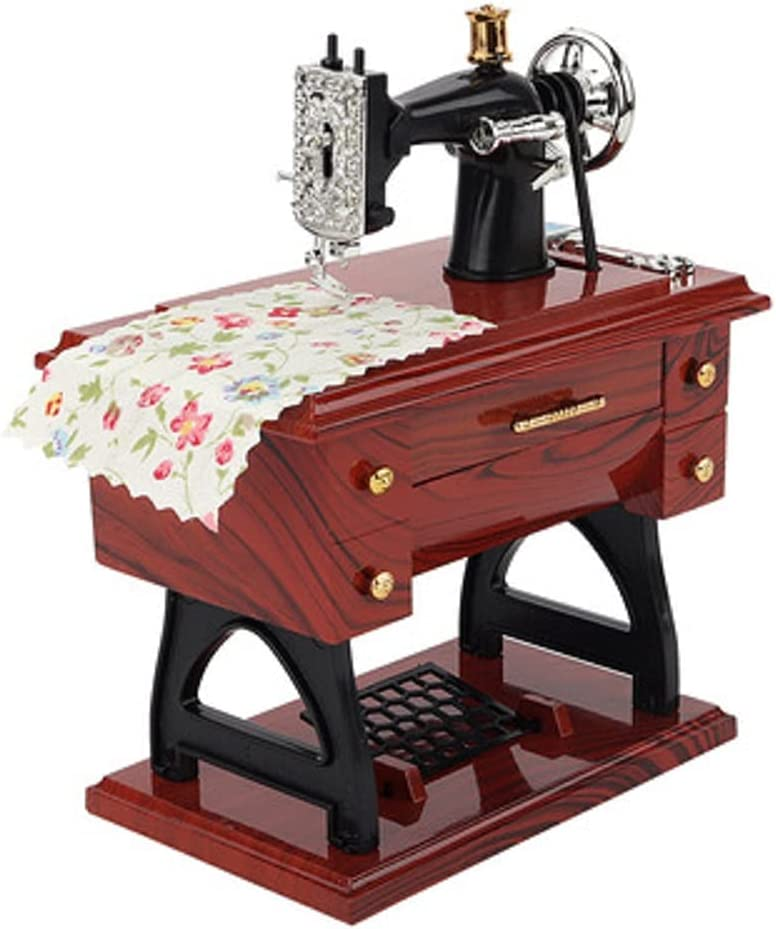 Dusdombr Sewing Music Box, Vintage Music Box Mini Sewing Machine Style Mechanical Birthday Gift Table Decor