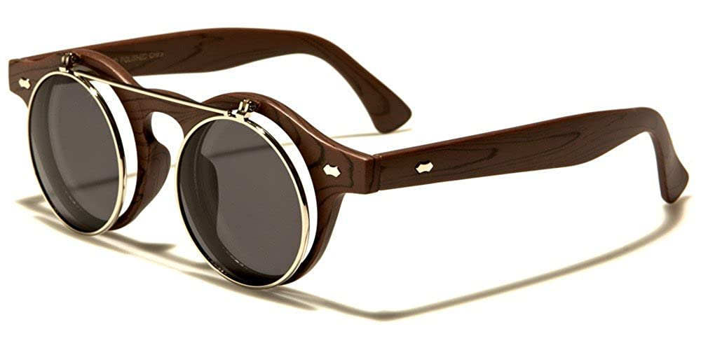Amazon.com: Faux Wood Frame Round Flip Up Sunglasses (Blue ...