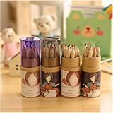 """Yosoo 4-Pack Mini Colored Pencils In Tube with a Sharpener Painting Sketching Writing Drawing Pencil for Kids - 12 Colors 3.5"""" Length"""