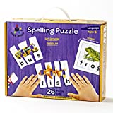 Toys : Star Right Educational Spelling Puzzle Game with Realistic Art, Learning Toys for ages 4+, 3 and 4 Letter Words, Set of 26 (91 pieces) with 1 Puzzle Frame Included