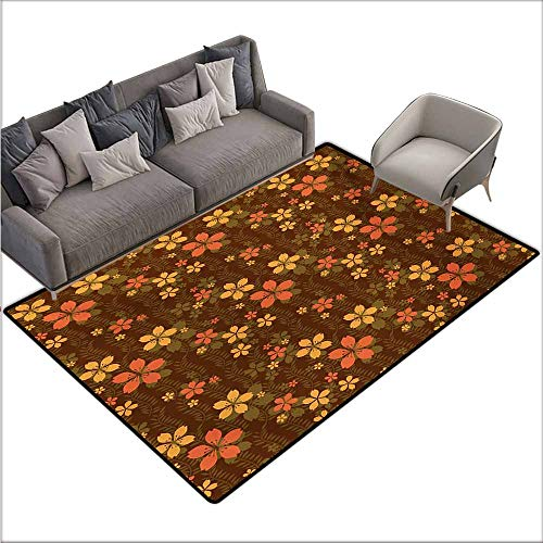 Door Rug Increase Chocolate Wildflowers and Foliage on an Abstract Brown Background Ornate Blooming Nature Super Absorbent mud W78 xL106 Multicolor
