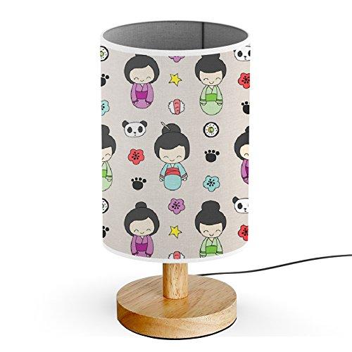 ArtLights - Wood Base Decoration Desk / Table / Bedside Lamp [ Geishas ]