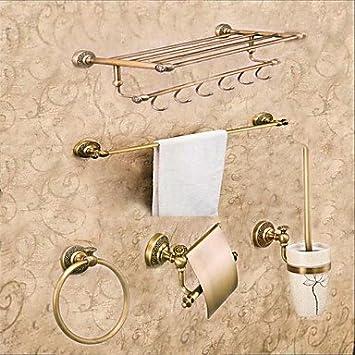 BSF Néoclassique accessoire de salle de bain Ensemble de 5 pcs Laiton antique Porte-serviettes Serviette Bartowel