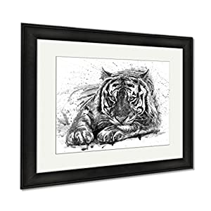 Ashley Framed Prints Tiger Animals Watercolor Wild Cat Illustration Graphic Wildlife, Wall Art Home Decoration, Black/White, 26x30 (frame size), Black Frame, AG6580987