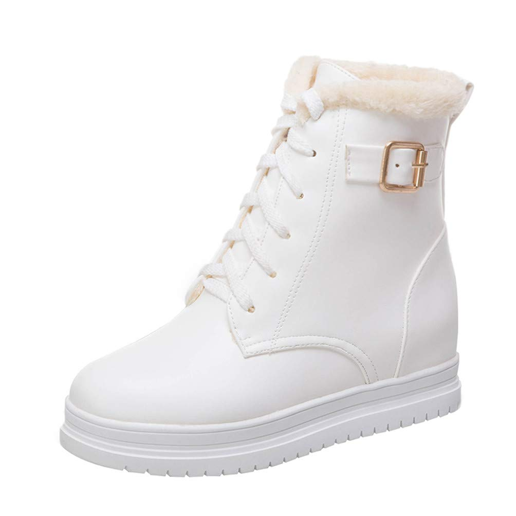 Kittcatt Blanc Bottes Femme Bottine Martin a Boots Lacets B00MY4MVGQ avec Boucle a Talon Compense Ankle Boots Hiver Winter Chaussure Blanc 5f35ea0 - conorscully.space