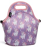 Lunch Box Bag for Girls,Vaschy Neoprene Insulated Lunch Tote with Detachable Adjustable Shoulder Strap in Pink Unicorn