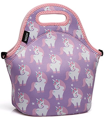 Kids Lunch Tote - VASCHY Lunch Box Bag for Girls, Neoprene Insulated Lunch Tote with Detachable Adjustable Shoulder Strap in Pink Unicorn
