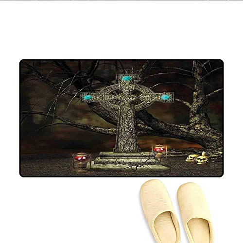 YGUII Doormat Gothic Cross Tree Grave Skulls Tombstone Lanterns Graveyard Night Art Bath Mat for Tub Bathroom Mat 16X23.6in (40x60cm)