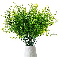Lvydec 6 Pcs Artificial Eucalyptus Leaf Branches, Fake Greenery Foliage Plants with Total 42 Stems for Garden, Wedding, Home, Outdoor/Indoor Decor