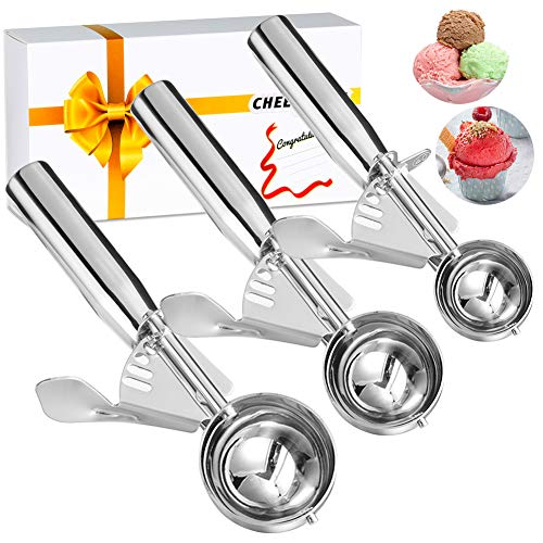 (Cookie Scoop, Ice Cream Scoop, Cookie Scooper with Trigger Large Medium Small Ice Cream Scoopers, 18/8 Polished Stainless Steel Melon Ballers Cookie Scooper - Gift Package (New Set of 3))