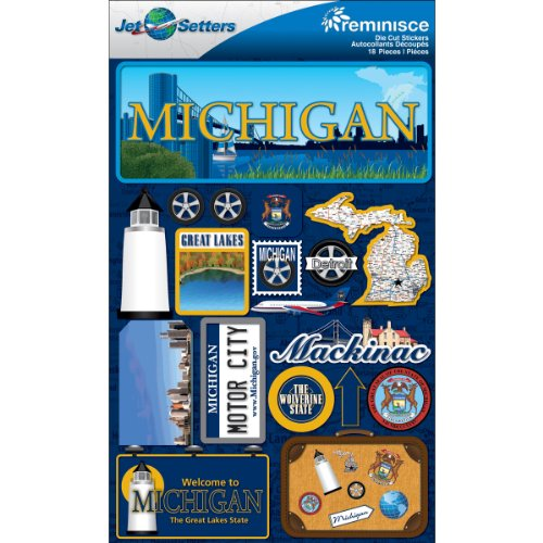 Reminisce Jet Setters Dimensional Stickers-Michigan
