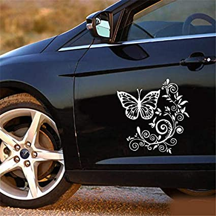 Butterfly Flower Hood Tailgate Side Window Decal Car Sticker Decoration Sweet - (Color Name: Black)