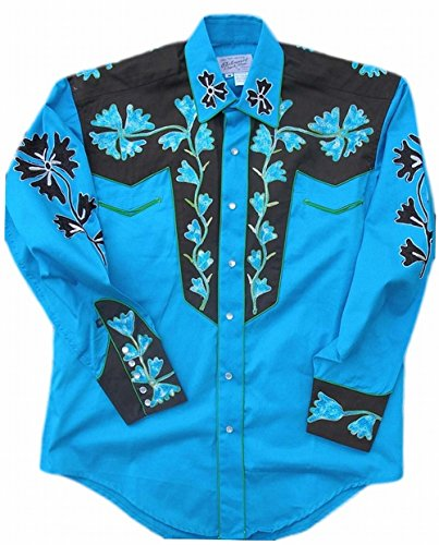 Snap Tone Two (Rockmount Mens Vintage Style Western Two Tone Embroidered Snap Shirt, Turquoise, XXL)