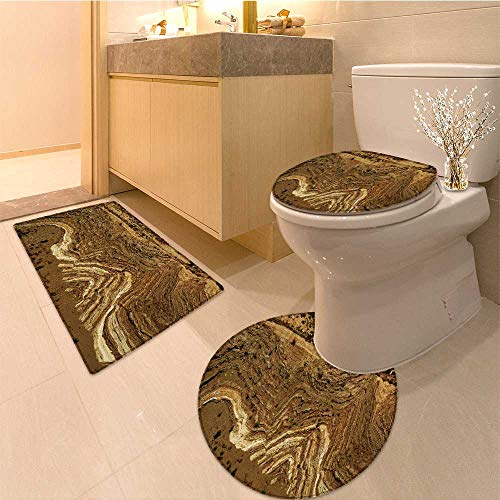 Fold Da Mat - MikiDa 3 Piece Shower Mat set folds in rock caused by faulting Pattern Rug Set